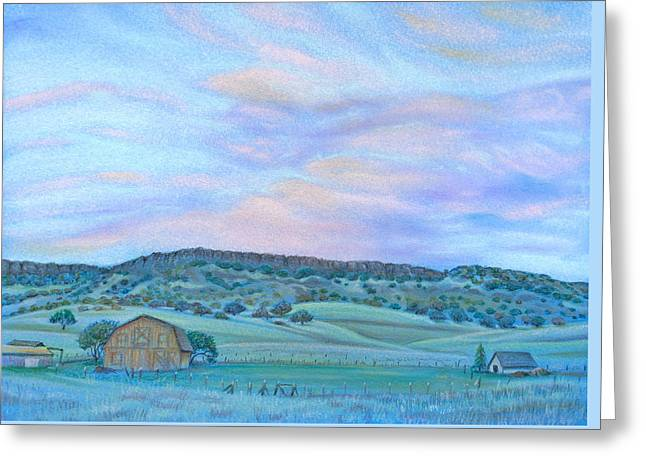 Pastoral Scene Pastels Greeting Cards - Sunset Over Table Mountain Greeting Card by Michele Myers
