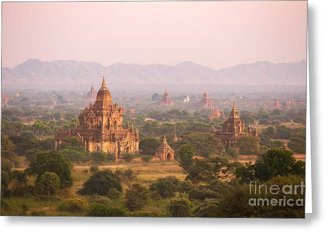 Historical Images Greeting Cards - Sunset over temples of Bagan - Myanmar Greeting Card by Matteo Colombo