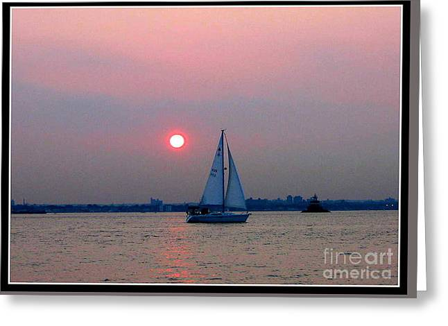 Foggy Beach Greeting Cards - Sunset over the Bay Greeting Card by  Photographic Art and Design by Dora Sofia Caputo