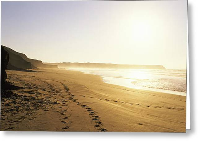 Faro Greeting Cards - Sunset Over The Beach, Lagos, Faro Greeting Card by Panoramic Images