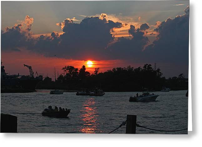 Cape Fear River Greeting Cards - Sunset Over the Cape Fear III Greeting Card by Suzanne Gaff