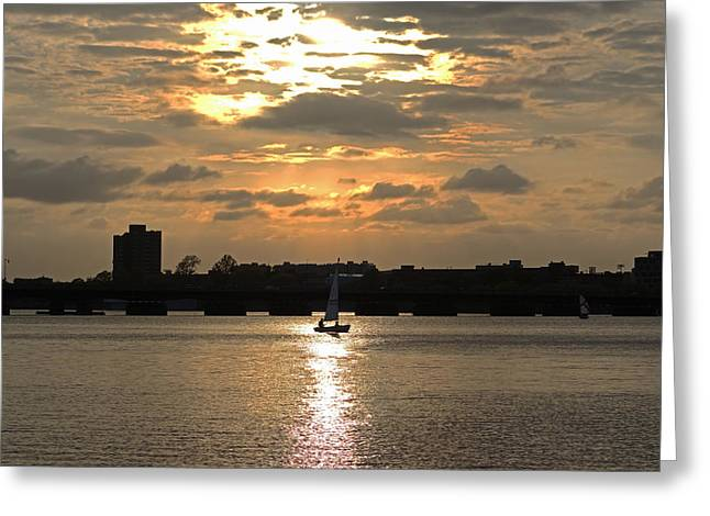 Sunset Over The Charles River Greeting Card by Toby McGuire
