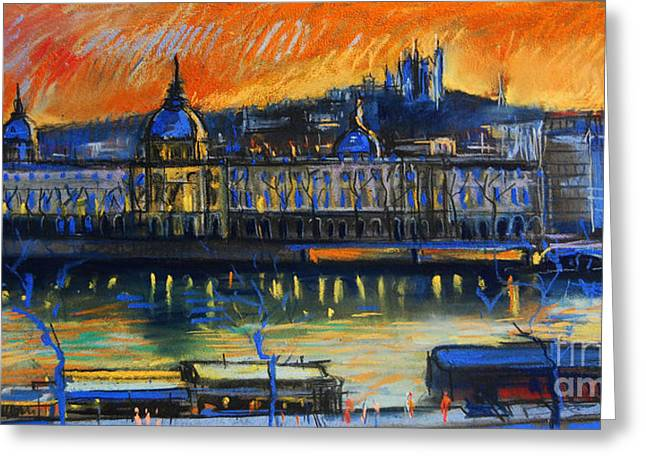 Sunset Over The City - Lyon France Greeting Card by Mona Edulesco