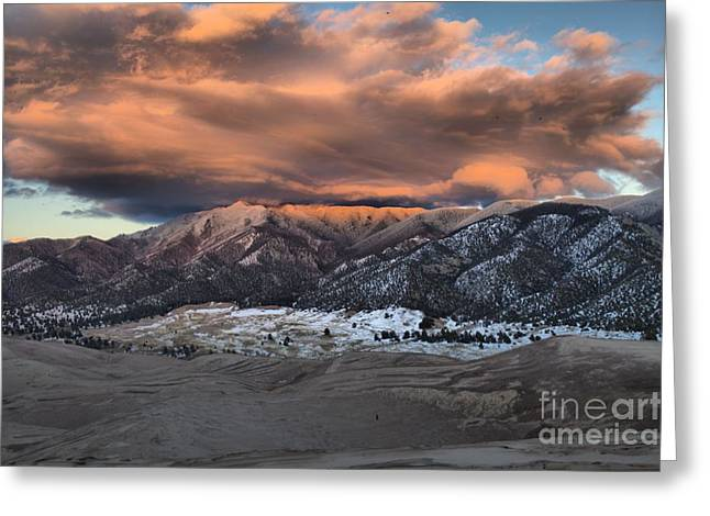 Sunset Over The Dunes Greeting Card by Adam Jewell