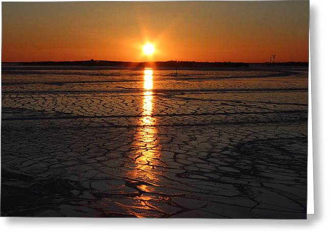 Star Burst Prints Greeting Cards - Sunset over the Frozen Sea Greeting Card by Tony Webb