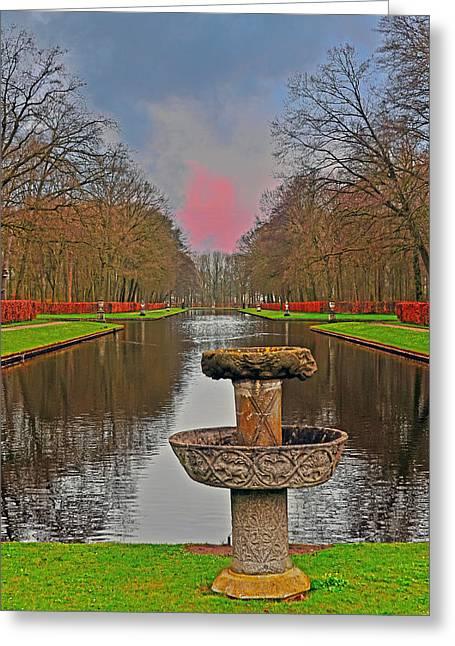 Kasteel De Haar Photographs Greeting Cards - Sunset Over the Garden Greeting Card by Elvis Vaughn