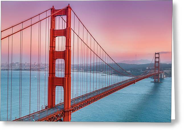 Bay Bridge Greeting Cards - Sunset over the Golden Gate Bridge Greeting Card by Sarit Sotangkur