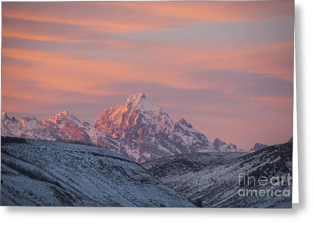 Environmental Greeting Cards - Sunset over the Grand Tetons Greeting Card by Juli Scalzi
