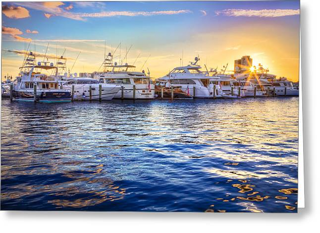 Sailboats At The Dock Greeting Cards - Sunset Over the Harbor Greeting Card by Debra and Dave Vanderlaan