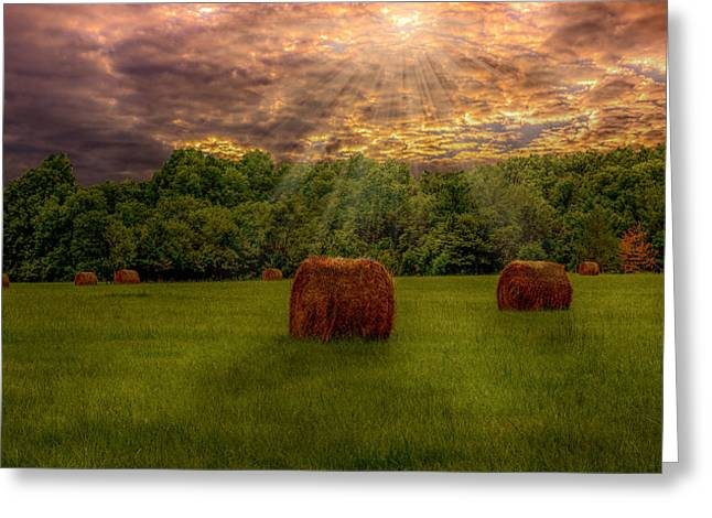 Hay Bales Greeting Cards - Sunset over the Hayfied Greeting Card by Chris Daugherty