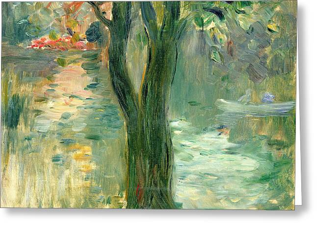 Morisot Canvas Greeting Cards - Sunset over the Lake Bois de Boulogne Greeting Card by Berthe Morisot