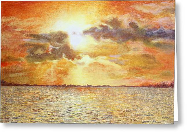 Sunset Reflecting In Water Greeting Cards - Sunset Over The Lake Greeting Card by John Hebb