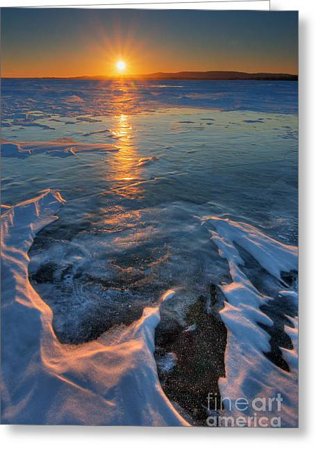 Snowy Evening Greeting Cards - Sunset Over The Lake Of Two Mountains Greeting Card by Robert Servranckx