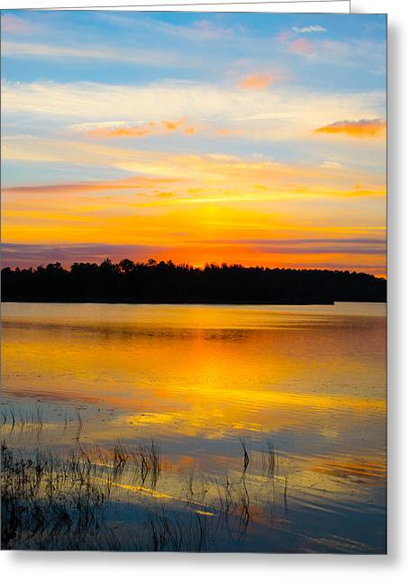 Reflections In River Greeting Cards - Sunset Over The Lake Greeting Card by Parker Cunningham