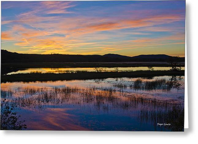 Roger Lewis Greeting Cards - Sunset over the Nerepis Greeting Card by Roger Lewis
