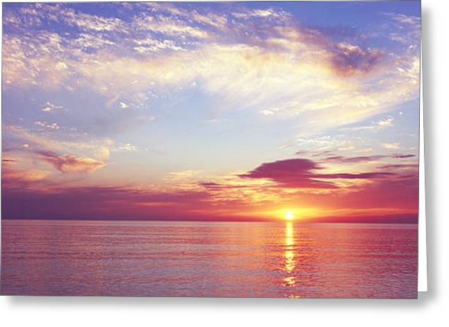Reflections Of Sun In Water Greeting Cards - Sunset Over The Ocean, Gulf Of Mexico Greeting Card by Panoramic Images