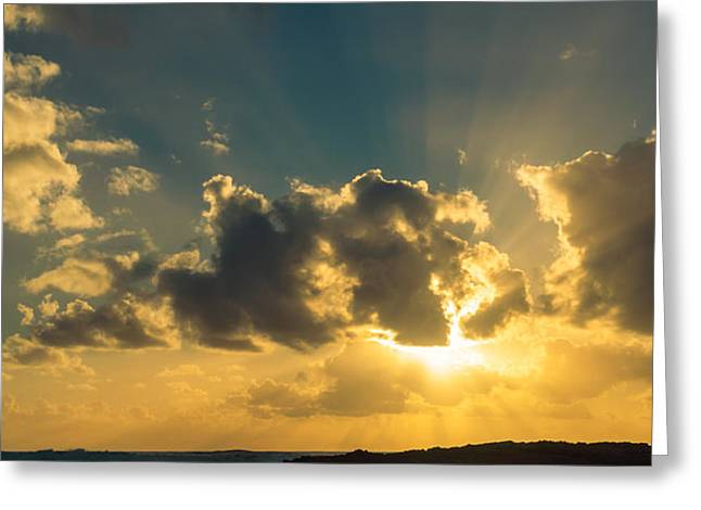 Sunset Over The Ocean IV Greeting Card by Marco Oliveira