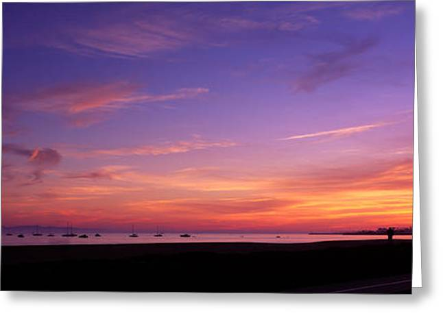 California Ocean Photography Greeting Cards - Sunset Over The Ocean, Santa Barbara Greeting Card by Panoramic Images