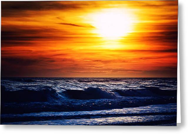 Babylon Greeting Cards - Sunset Over the Ocean Greeting Card by Vicki Jauron