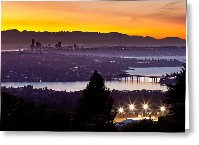 I Greeting Cards - Sunset over the Olympics Greeting Card by Thorsten Scheuermann