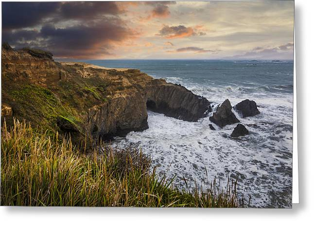 Foggy Beach Greeting Cards - Sunset over the Oregon Coast Greeting Card by Debra and Dave Vanderlaan