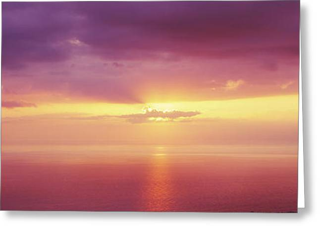 Ocean. Reflection Greeting Cards - Sunset Over The Pacific Ocean, Hawaii Greeting Card by Panoramic Images