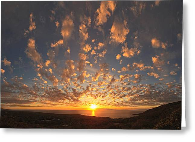 Panoramic Ocean Greeting Cards - Sunset Over The Pacific Ocean Greeting Card by Panoramic Images