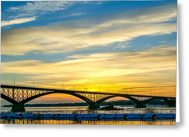 Helix Greeting Cards - Sunset over the Peace Bridge Greeting Card by Chris Bordeleau