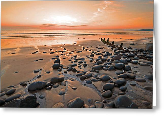 Stones Greeting Cards - Sunset over the Pebbles Greeting Card by David ELLIOTT