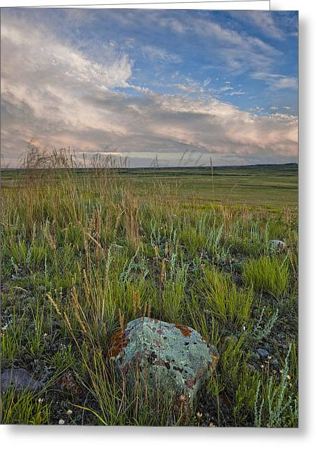 Canadian Prairie Landscape Greeting Cards - Sunset Over The Prairies In Grasslands Greeting Card by Robert Postma