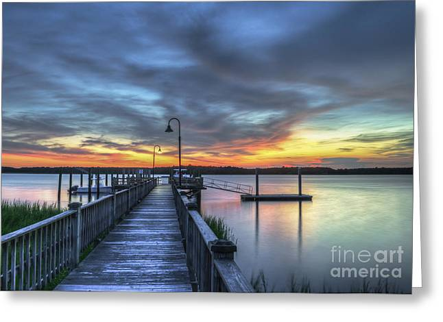 Mt. Pleasant Sc Greeting Cards - Sunset over the River Greeting Card by Dale Powell