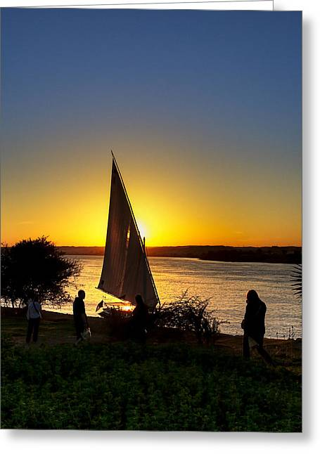 River Nile Greeting Cards - Sunset Over The River Nile Greeting Card by Mark Tisdale