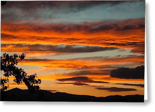 Geobob Greeting Cards - Sunset over the Rocky Mountain Front Range Loveland Colorado Greeting Card by Robert Ford