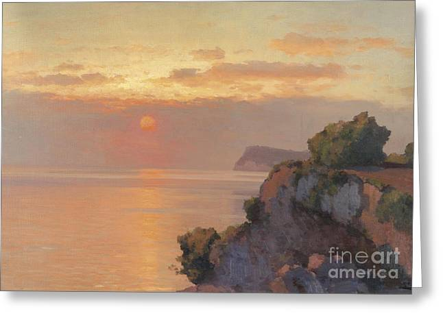 Cliffs Over Ocean Greeting Cards - Sunset Over The Sea Greeting Card by Celestial Images