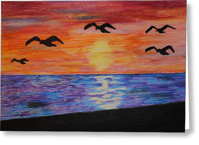 Sunset Seascape Drawings Greeting Cards - Sunset over the Sea  Greeting Card by Gretchen Onstott