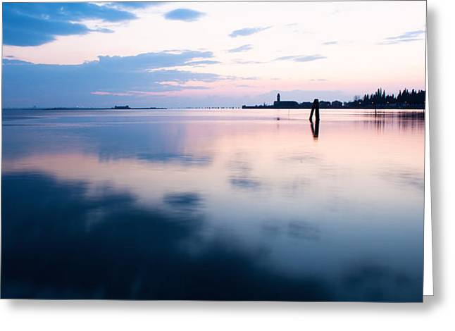 Mediterranian Greeting Cards - Sunset over the sea in Burano Greeting Card by Susan  Schmitz