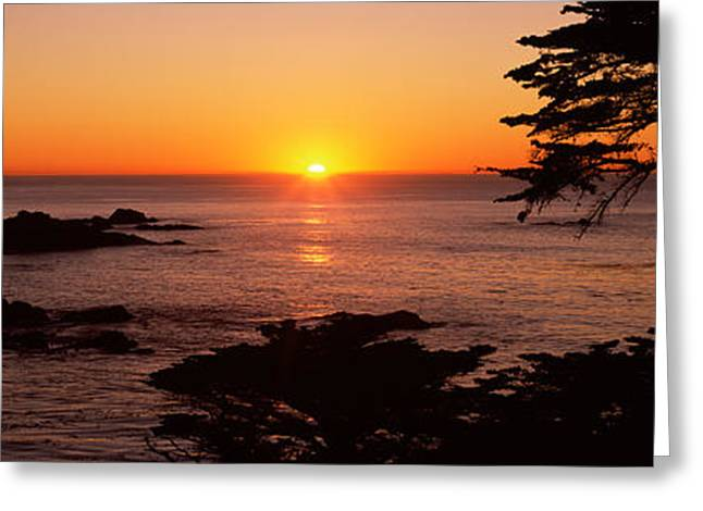 Sunset Over The Sea, Point Lobos State Greeting Card by Panoramic Images