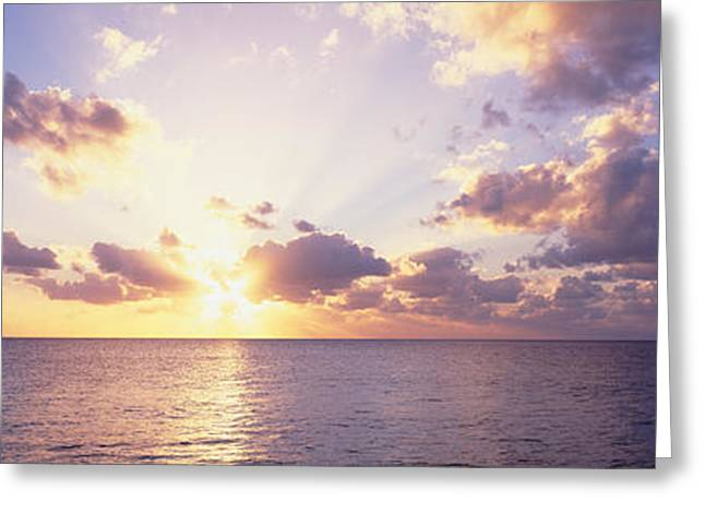 Sunset Over The Sea, Seven Mile Beach Greeting Card by Panoramic Images