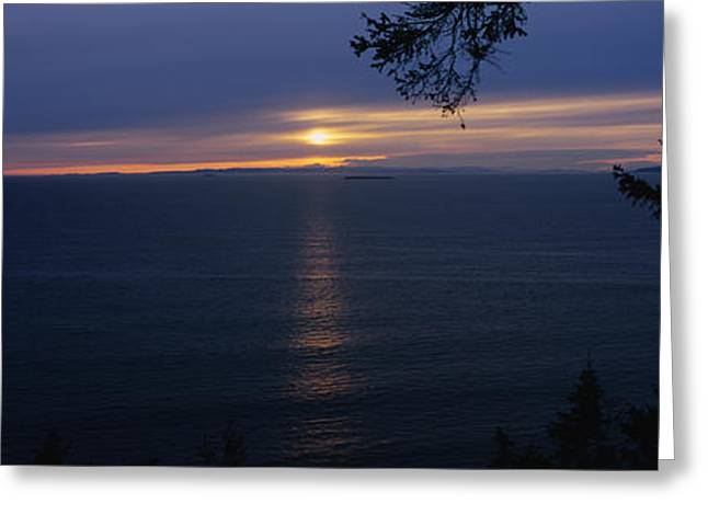 Reflections Of Sky In Water Greeting Cards - Sunset Over The Sea, Strait Of Juan De Greeting Card by Panoramic Images