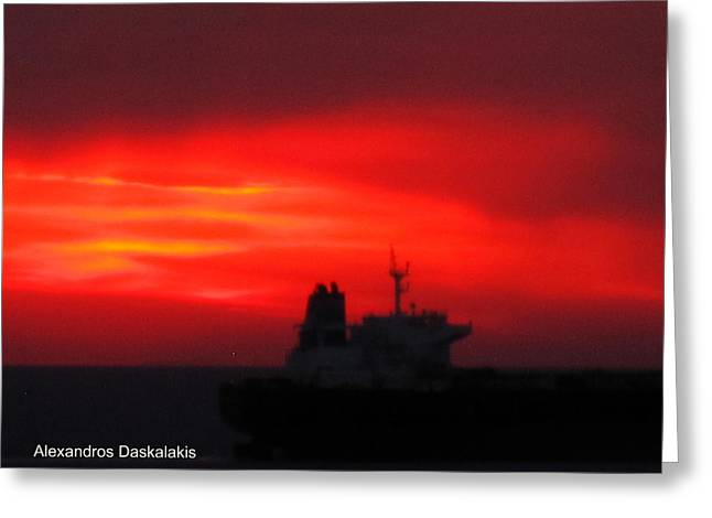 Amazing Sunset Greeting Cards - Sunset Over the Ship Greeting Card by Alexandros Daskalakis