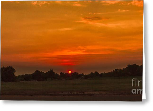 Haybales Greeting Cards - Sunset Over The Sport Complex Greeting Card by Robert Bales