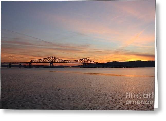 Reflections In River Greeting Cards - Sunset Over the Tappan Zee Bridge Greeting Card by John Telfer