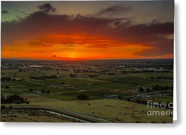 Treasure Valley Greeting Cards - Sunset Over The Valley Greeting Card by Robert Bales