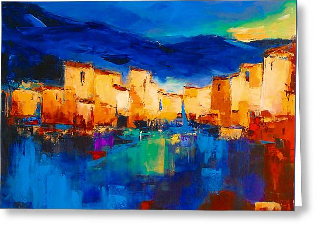 Abstract Seascape Art Greeting Cards - Sunset Over the Village Greeting Card by Elise Palmigiani