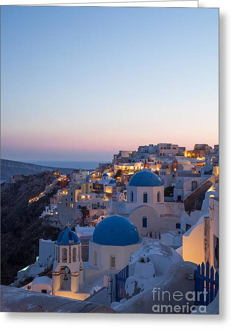 Sunset Posters Greeting Cards - Sunset over the village of Oia - Santorini - Greece Greeting Card by Matteo Colombo