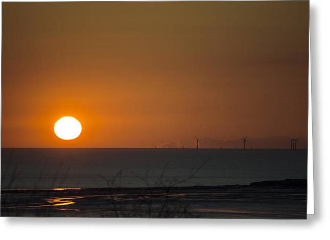 Sunset Over The Windfarm Greeting Card by Spikey Mouse Photography