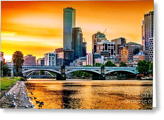 Sunset Over The Yarra Greeting Card by Az Jackson