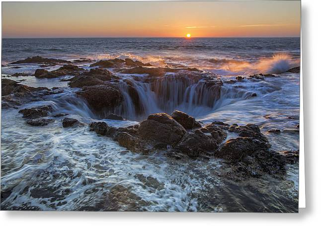 Thor Greeting Cards - Sunset Over Thors Well along Oregon Coast Greeting Card by David Gn