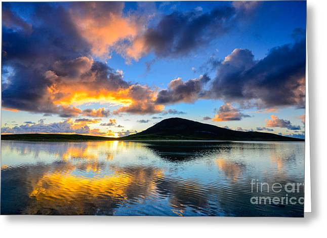 2013 Greeting Cards - Sunset over Toe Head Isle of Harris Greeting Card by Janet Burdon