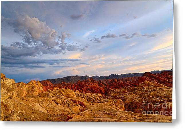 Sunset Over Valley Of Fire State Park In Nevada Greeting Card by Jamie Pham